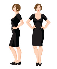 Vector illustration of woman in black dress and shoes on flat heel with short sleeves on white background. Various turns woman's figure. Front view and side view.