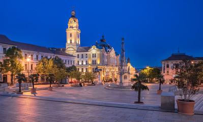 Main square at night, Pecs, Hungary