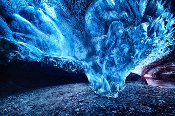 Ice formation in a cave.