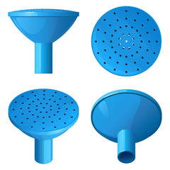 Голубая пластиковая насадка на лейку для полива и разбрызгивания воды, вид сверху, вид сбоку, вид снизу и общий вид, на   белом фоне