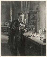 Louis Pasteur in his laboratory . Date: 1885