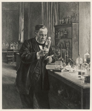 Louis Pasteur in his laboratory . Date: 1885