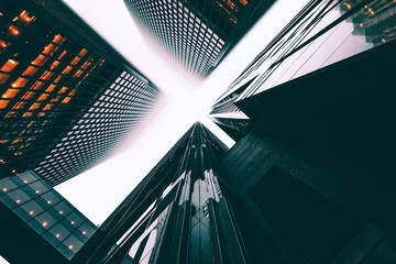 A low angle view of skyscrapers.