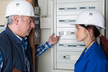 female electrician and her master