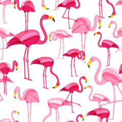 Vector seamless pattern with pink flamingo isolated on white background. Hand drawn doodle illustration. Flamingo birds in various poses. Trendy design for summer fashion textile print.