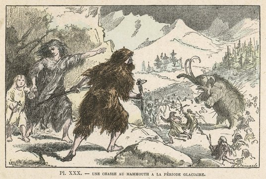 Hunting mammoth during the Ice Age. Date: circa 11 000 BC