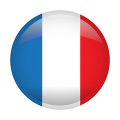 Isolated flag of France on a button, Vector illustration