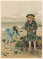 Children playing in a rockpool at the seaside.. Date: circa 1890