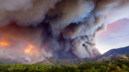 A fire in the mountains.