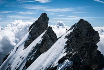 A mountaineer on La Meije, Massif des Ecrins, France.