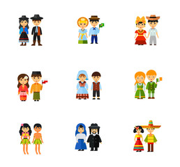 People in national dress icon set