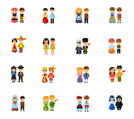 Traditional costume icon set