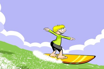 Surfer boy on surfboard riding the wave