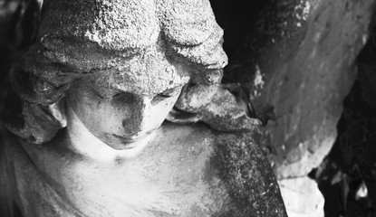 Fototapete - Vintage image of a sad angel on a cemetery against the background of leaves