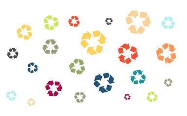 Viele bunte Recycling Symbole
