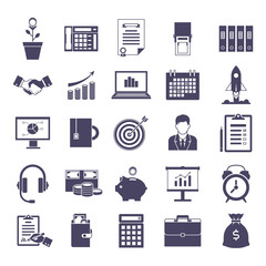 Business simple icons set, company web design, office image collection, advertising, documents, data treatment objects. Vector illustration on white background