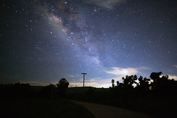 Milky way galaxy with cloud sky, Long exposure photograph.with grain