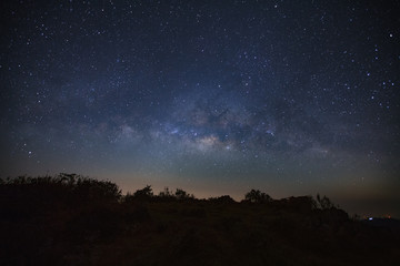 Milky way galaxy over moutain. Long exposure photograph.With grain