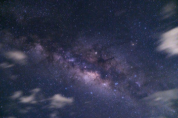 Milky way with cloud sky, Long exposure photograph.with grain