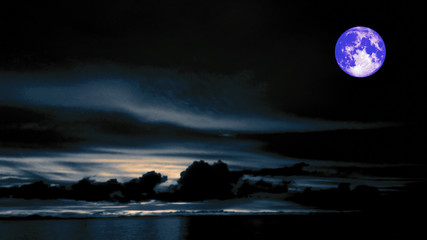 blue moon and dark blue sky in night