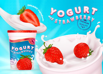 Different strawberries, 3d realistic vectors illustration of flavor yogurt ad, product logo, promotion: milk, white yogurt splash, strawberry slices, tasty food ad design, spoon, retro background