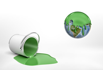 3d rendering of a overturned green paint bucket lying beside an Earth globe half covered in green paint.