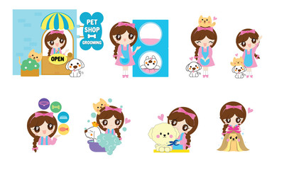 Cartoon for pet shop and grooming