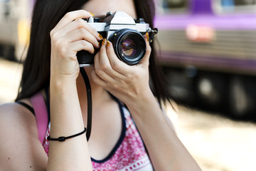 Girl Photographer Traveler Wanderlust Concept