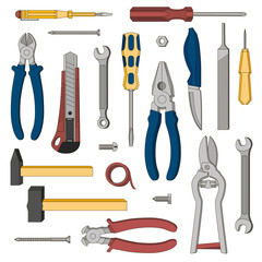 A set of tools for repair. Vector. Illustration.