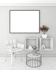 mock up poster frame in light interior background, modern style, 3D render, 3D illustration, 3D viz