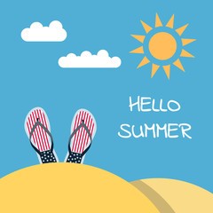 Banner Hello to summer with a picture of a beach slap. flip flops and a place for a label. Illustration of a beach holiday. Summer vacation on the beach, illustration.