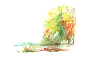 Autumn landscape of the forest, nature watercolor. Drawing in hand-drawn graphics on a white background. Yellow, red, orange autumn trees, bushes, plants. Beautiful postcard, card, poster, sticker
