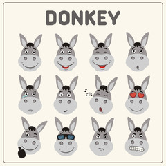 Emoticons set face of donkey in cartoon style. Collection isolated funny muzzle donkey with different emotion.