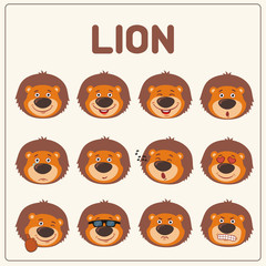 Emoticons set face of lion in cartoon style. Collection isolated funny muzzle lion with different emotion.