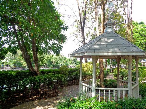White pavilion in the riverside public park of Bangkok, Thailand