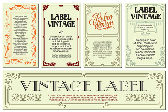 Vector flowers vintage labels on different versions.