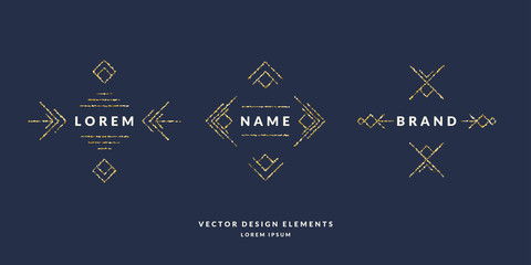 Set of modern geometric framework for text of gold glitter on a dark background. Vector illustration