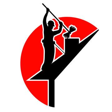 ramonage ramoneur cheminée logo vecteur