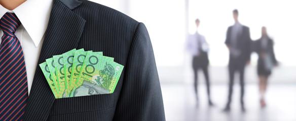 Money, Australian dollar (AUD) banknotes, in businessman suit pocket