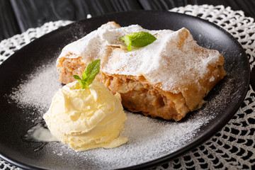 Homemade apple strudel with vanilla ice cream and mint closeup. horizontal
