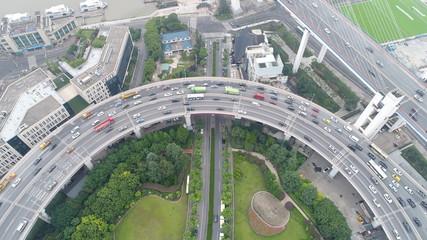 中国 上海 高架道路 高速道路 渋滞 チャイナマネー  空撮 ドローン 直線 曲線