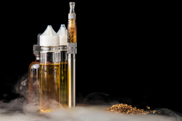 Electronic cigarette with bottles and grinded tobacco leaves
