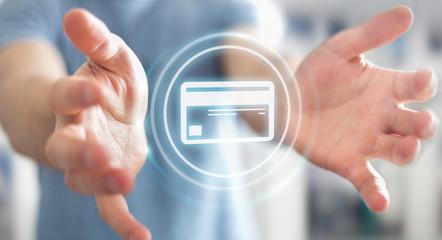 Businessman using digital payment interface 3D rendering