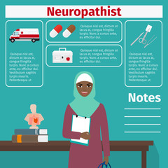Female neuropathist and medical equipment icons