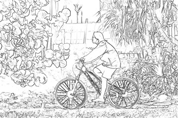 Monochrome drawings bicycle