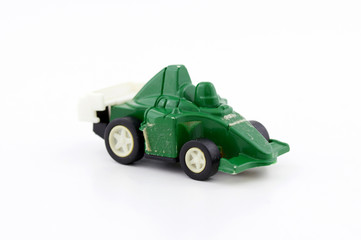 Toy car isolated over white