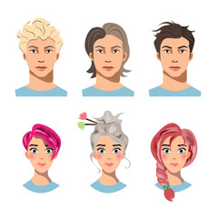 Set of men and women with different hair