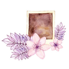 Watercolor hand painted designer element with photo frame and floral details isolated on white