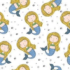 Seamless pattern with Hand drawn vector little mermaid
