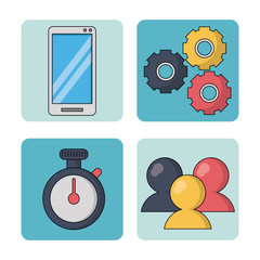 white background with colorful squares with smartphone and pinions and watch timer and chat